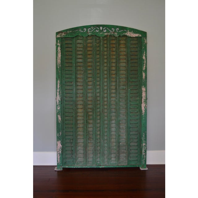 White Antique Iron Tall Arched French Window Shutter For Sale - Image 8 of 9