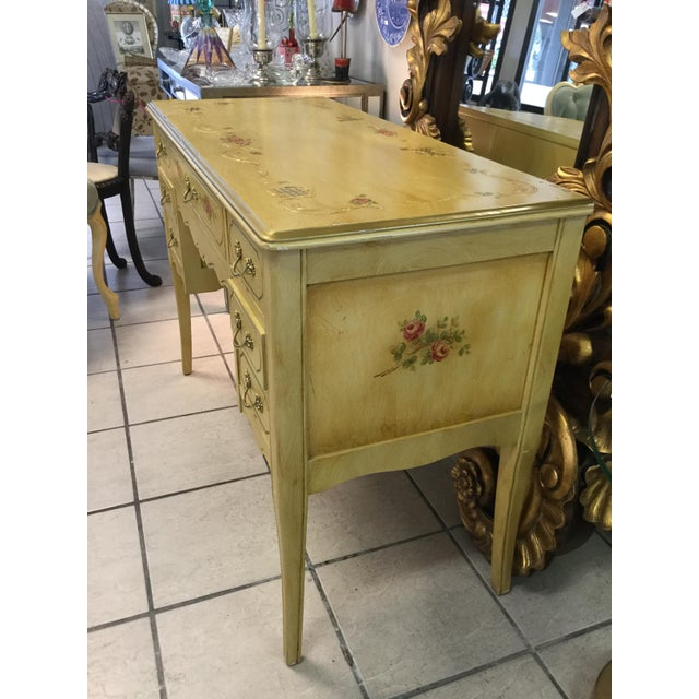 1970's Yellow Hand Painted Roses Floral Vanity & Chair For Sale In West Palm - Image 6 of 10