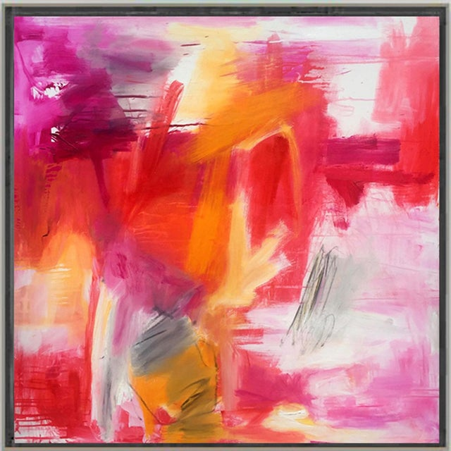 "Red ""Morning Glory"" by Trixie Pitts Large Abstract Expressionist Oil Painting For Sale - Image 8 of 13"