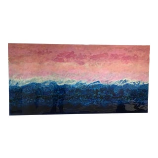 Marie Danielle Leblanc Fiorland, Abstract Landscape, 30x60, Pink, Blue, White, Hi-Gloss Finish 2015 For Sale