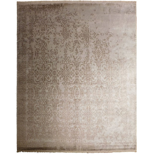 """Transitional Hand-Knotted Bamboo Silk Luxury Rug - 8'1"""" X 10'1 For Sale"""