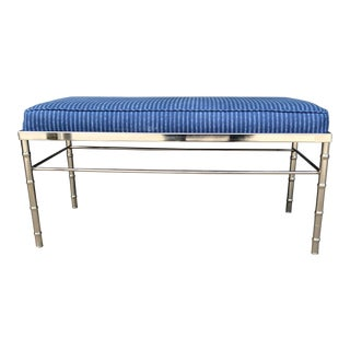 Vintage Chrome Faux Bamboo Bench For Sale