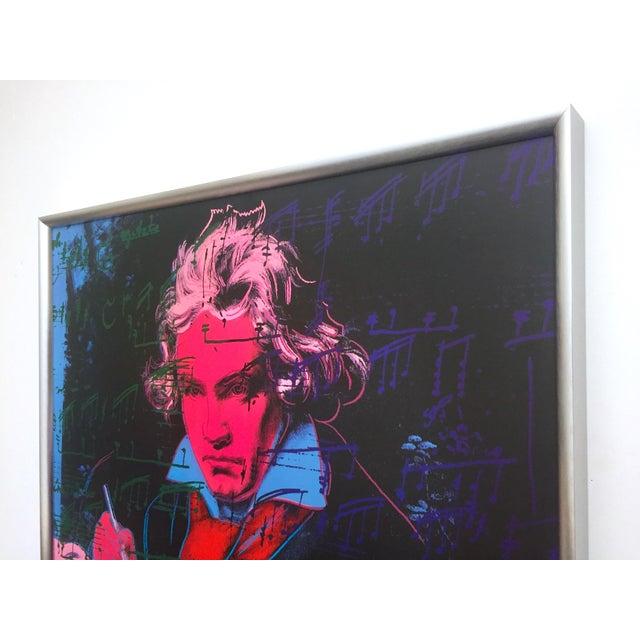 "Black Andy Warhol Foundation Vintage 1992 Lithograph Print Framed Pop Art Poster "" Beethoven "" 1987 For Sale - Image 8 of 13"