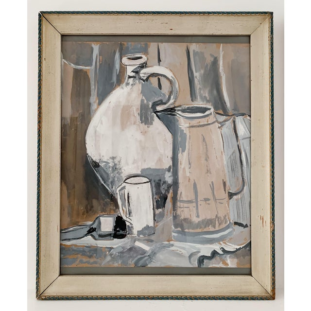 1970s Vintage Still Life Watercolor Painting For Sale - Image 4 of 4