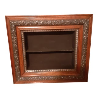 Late 19th Century Antique Ornate Wood and Metal Wall Mount Shelf For Sale