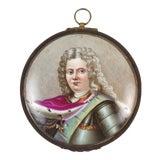 Image of Early 20th Century Antique Hand-Painted Miniature Porcelain Louis XIV Portrait For Sale