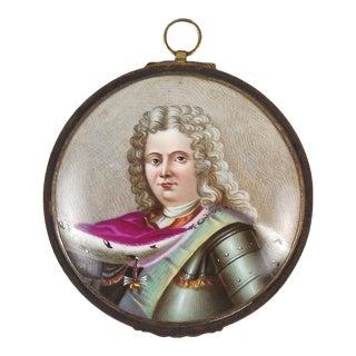 Early 20th Century Antique Hand-Painted Miniature Porcelain Louis XIV Portrait For Sale