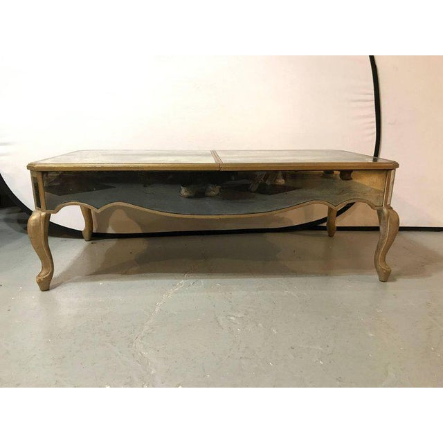 Hollywood Regency Hollywood Regency Italian Paint Decorated Sliding Mirror Top Coffee Low Table For Sale - Image 3 of 11