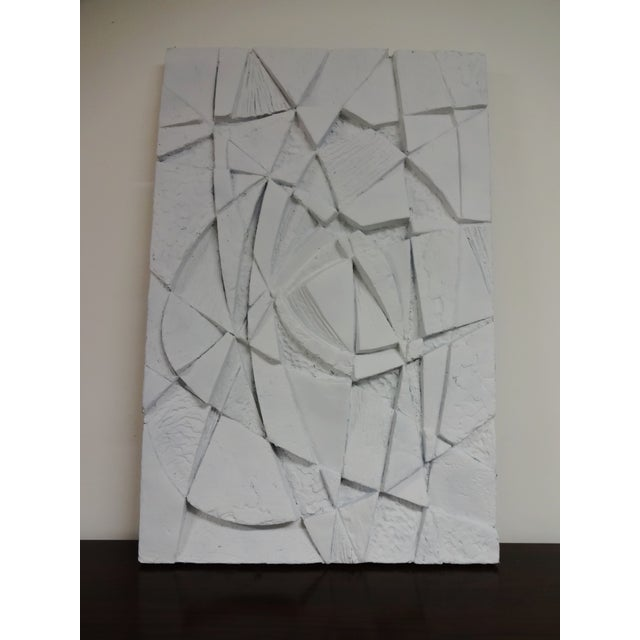 Super Op Art piece with lots of depth. This three dimensional abstract wall hanging is a resin molded sculpture, painted...