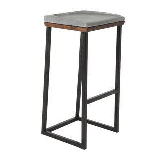 Walnut and Cast Concrete Beghi Stool For Sale