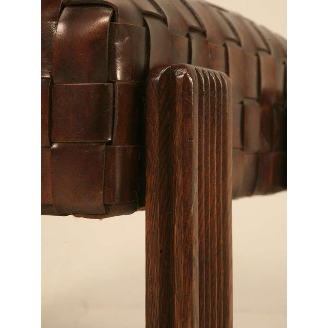 Brown Chic and Unique Vintage French Handwoven Leather Ottoman For Sale - Image 8 of 10