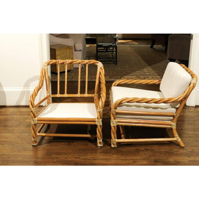 Wicker 1980s Pair of Restored Braided Rattan Loungers by McGuire For Sale - Image 7 of 11