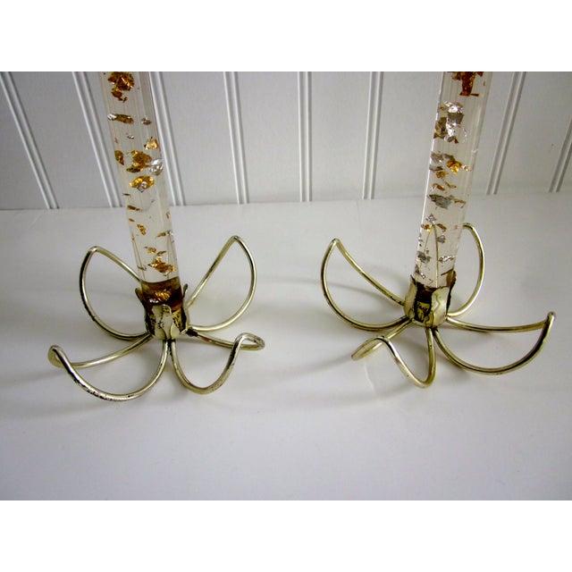 Sputnik Hollywood Regency Lucite Candles - Pair - Image 6 of 7
