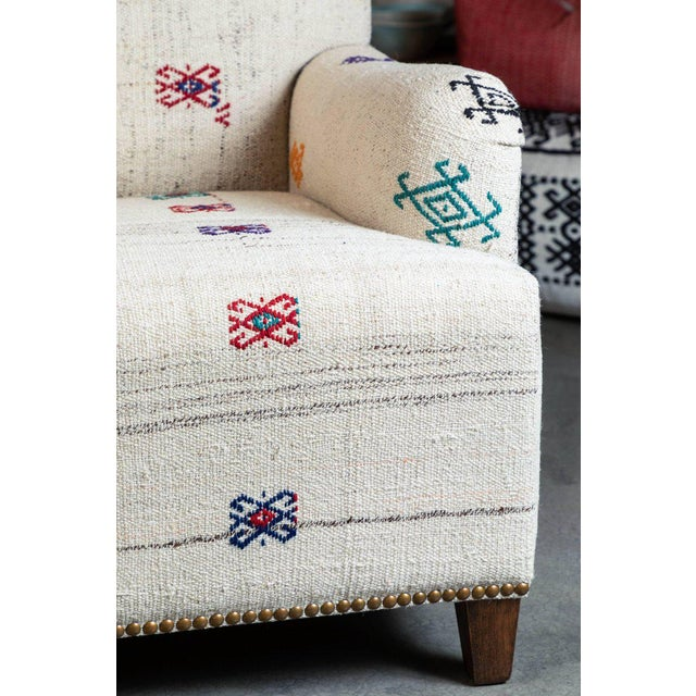 Custom-Made Settee, Upholstered in a Vintage Flat-Weave Kilim Rug For Sale In Los Angeles - Image 6 of 7