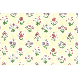Vintage Bassett McNab Yellow Floral Lattice Wallpaper - 10 Yard Roll For Sale