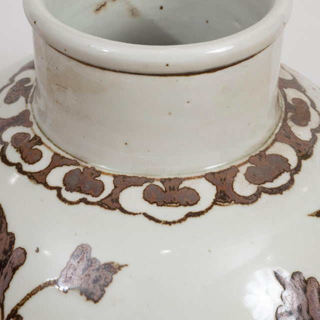 Ceramic Large Brown and White Chinese Export Vases - A Pair For Sale - Image 7 of 8