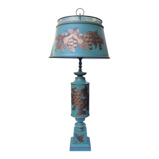 Green Tole Hand Painted Table Lamp For Sale