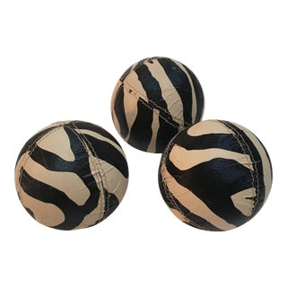 Zebra Covered Bocce Balls - Set of 3