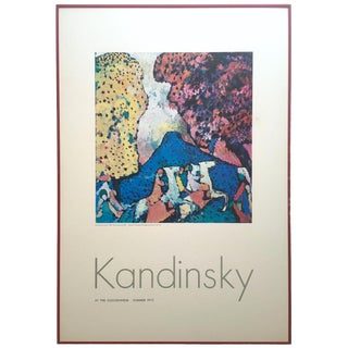 "Wassily Kandinsky Rare Vintage 1972 Lithograph Print Framed Guggenheim Museum Exhibition Poster "" Blue Mountain No. 84 "" 1908 For Sale"