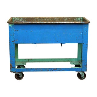 Blue & Green Rolling Industrial Tub Cart For Sale