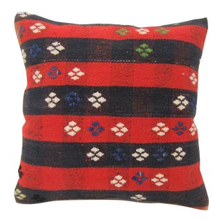 Vintage Red and Navy Turkish Kilim Pillow Cover For Sale