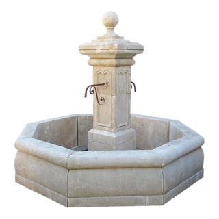Carved Octogonal Limestone Center Fountain from Provence