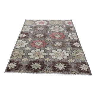 Vintage Decorative Flower Turkish Carpet - 6'7'' x 4'