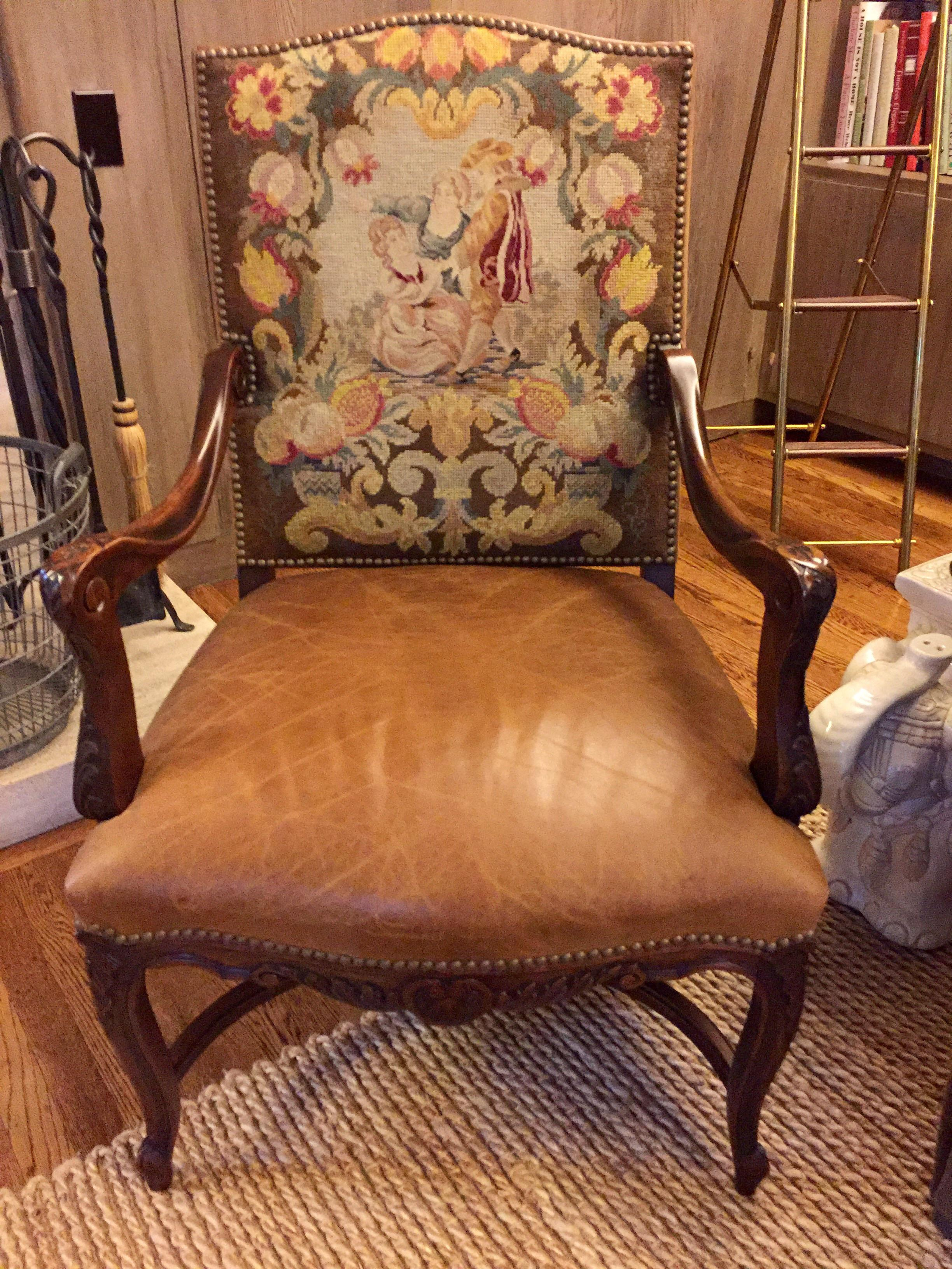 Perfect Antique Bergere Chair With Original Needlepoint   Image 2 Of 8