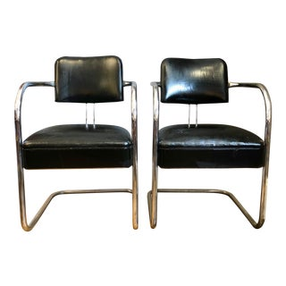 Vintage Art Deco Chrome Cantilevered Armchairs - a Pair For Sale