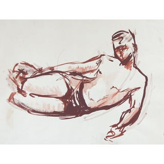 Reclining Sepia Male Figure Study Drawing For Sale
