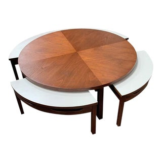 Mid-Century Lane Coffee Table with 4 Seats/Side Tables - 5 Pieces For Sale