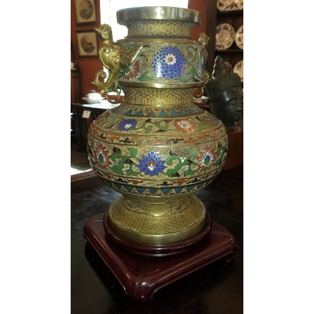 Large Oriental Champleve Cloisonne Urn on Stand For Sale In Dallas - Image 6 of 13
