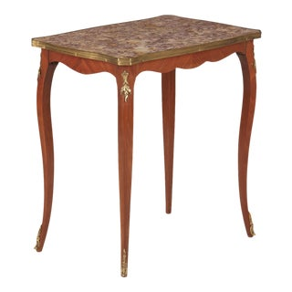 1940s French Louis XV Style Marble Top Side Table For Sale