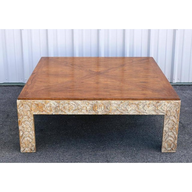 Parquetry Top Painted Square Coffee Table For Sale - Image 9 of 9