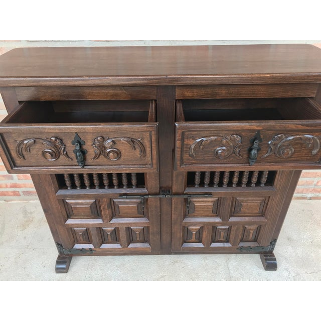 1900 - 1909 20th Century Spanish Carved Dark Walnut Tuscan Two Drawers Credenza or Buffet For Sale - Image 5 of 13