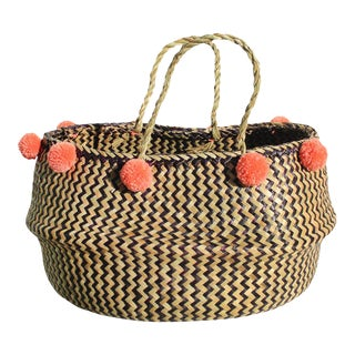 Borneo Super Wide Zig-Zag Belly Basket - With Salmon Pom-Poms