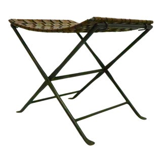 Wrought Iron Leather X Base Campaign Arts and Crafts Style Bench For Sale