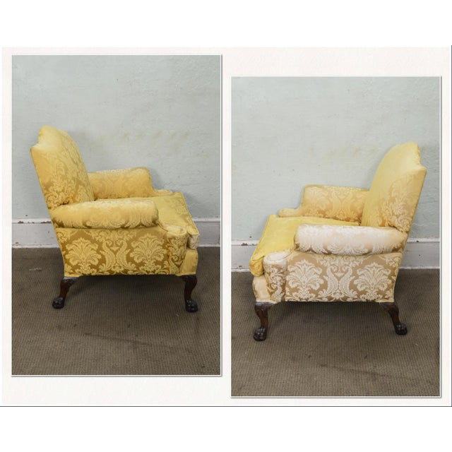 *STORE ITEM #: 18205 Georgian Style Custom Carved Mahogany Paw Foot Lounge Chair Bergere AGE / ORIGIN: Approx. 70 years,...