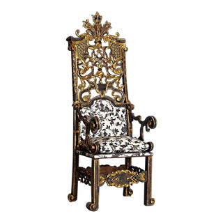A Rare and Highly Exuberant Parcel Gilt, Silver and Gold Venetian Arm Chair For Sale