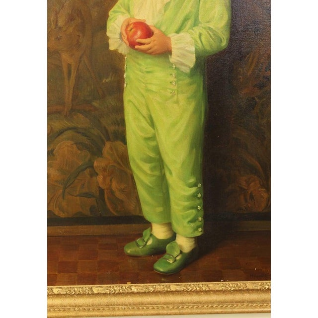 Art Deco Portrait of Boy in Green For Sale - Image 3 of 7