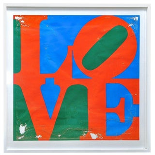 1970s Robert Indiana Love Serigraph Poster Patina Modernist Decay Pop Art Warhol For Sale
