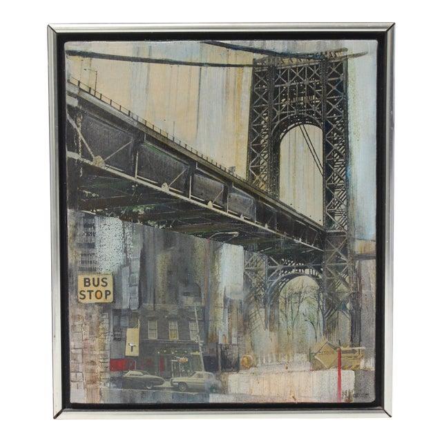 "Mid-Century M. Kaplan ""Brooklyn Bridge"" Oil on Canvas Painting For Sale"