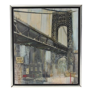 "Mid-Century M. Kaplan ""Manhattan Bridge"" Oil on Canvas Painting For Sale"
