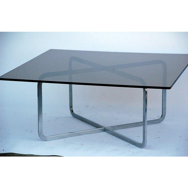 Mid-Century Modern Brushed Steel and Smoked Glass Coffee Table in the Style of Michel Boyer For Sale - Image 3 of 5