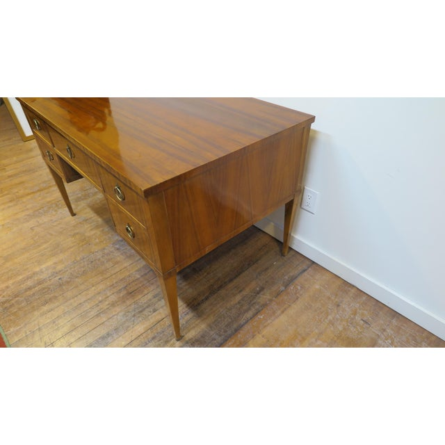 Midcentury Tiger Wood Desk For Sale - Image 9 of 13