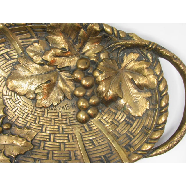Bronze Antique Jan Van Neste Art Nouveau Bronze Decorative Tray With Grape Leaves For Sale - Image 8 of 13