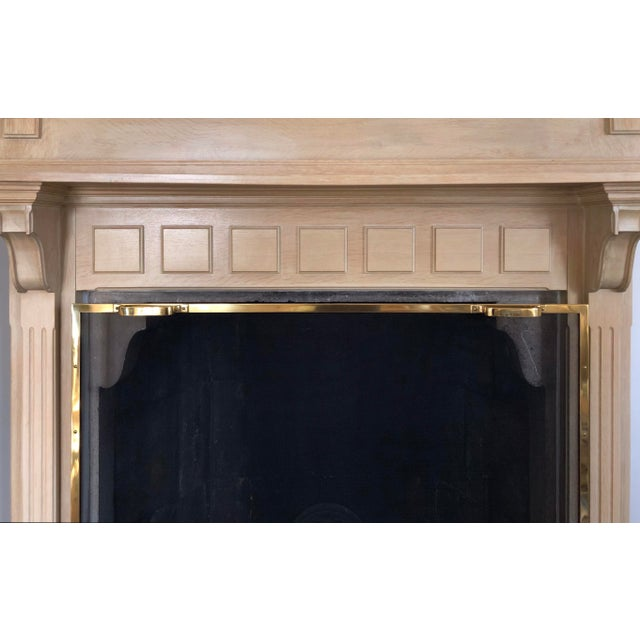 French Country 2 Piece Oak Fireplace Mantel With Oak Framed Mirror For Sale In Philadelphia - Image 6 of 8