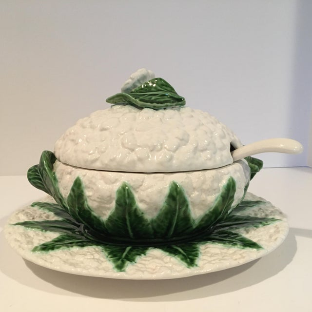 Vintage Majolica Cauliflower Tureen Made in Portugal - 4 Piece Set For Sale - Image 13 of 13