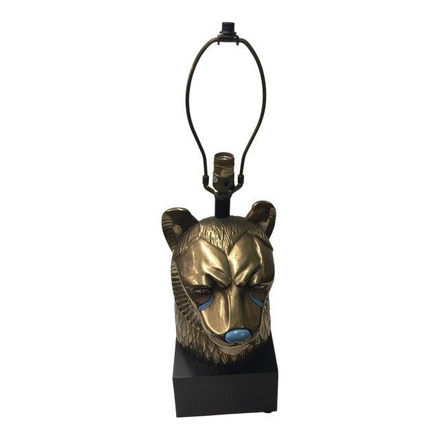 Vintage CHAPMAN Brass Sekhmet Egyptian Lion Figural Bust Goddess Lamp 70's For Sale