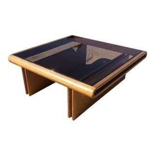 19890s Postmodern Large Wood Smoked Glass Coffee Table For Sale